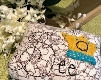 Queen Bee Hand-Embellished Pin Cushion - Welcome Spring in Style - Ready To Ship
