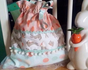 Funny Bunnies with Carrots Drawstring Purse
