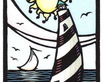 Original Linocut of Lighthouse, Sailboat and Sun by Ken Swanson (1606)
