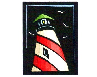 Original Linocut (1363) of Lighthouse with Birds by Ken Swanson