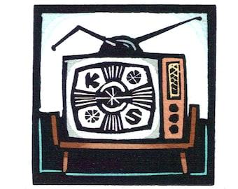 Original Linocut (1237) of TV by Ken Swanson