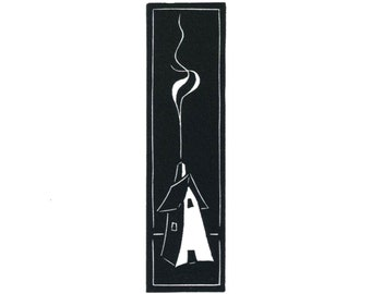 Original Linocut (0822) of a House with Chimney and Smoke By Ken Swanson