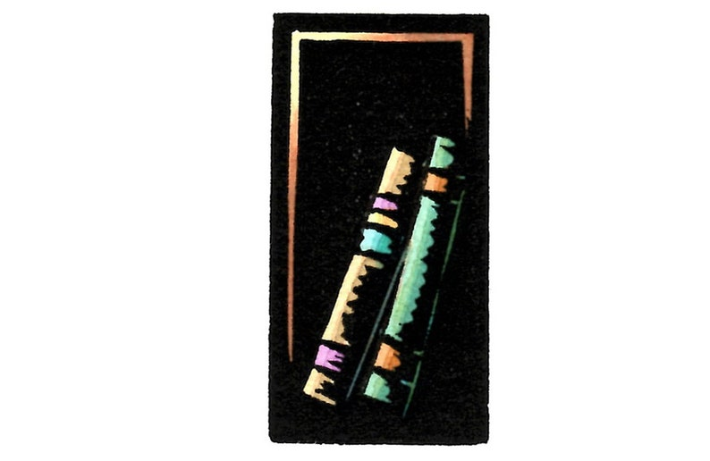 Print with Block of Two Books Leaning By Ken Swanson 1942