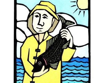 Original Linocut (1325) of Man with Fish by Ken Swanson