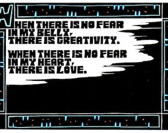 Original Linocut (1246) of Quote by Ken Swanson