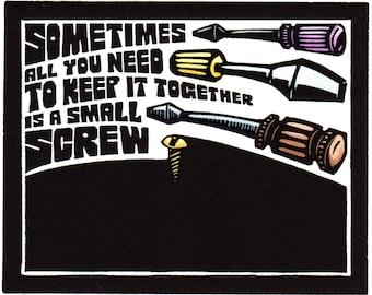 Original Linocut (1127) of a Screw and Screwdrivers by Ken Swanson