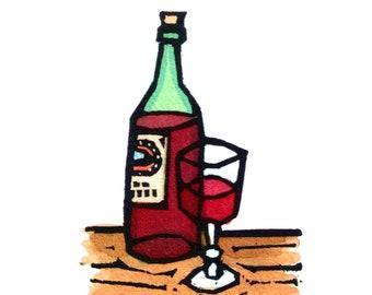 Original Linocut (1431) of a Wine Bottle and Glass by Ken Swanson