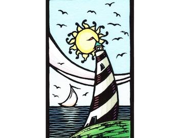 Original Linocut (1606) of Lighthouse, Sailboat and Sun by Ken Swanson