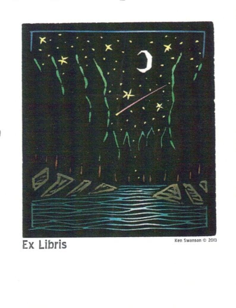 10 Bookplates From a Linoleum Block Print by Ken Swanson