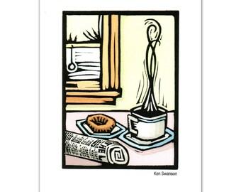 Greeting Card (12) from an Original Linocut By Ken Swanson (9531)