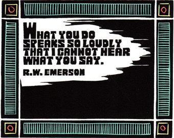 Original Linocut (1220) of Quote By R.W. Emerson by Ken Swanson
