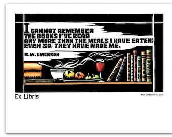 Bookplates (10) From a Linoleum Block Print by Ken Swanson