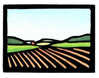 Original Linocut (0008) of Farm Field By Ken Swanson
