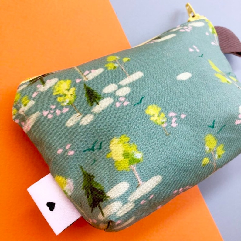 Forest Divided Mini Flat Bottom Pouch  Coin Purse handmade philosophy/'s pattern