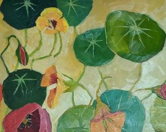 Nasturtiums and poppies original oil painting