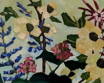 Dogwood and Lupine Original Oil Painting