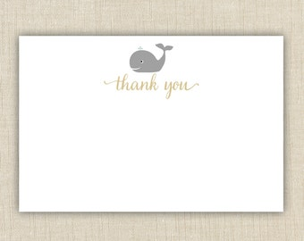 Baby shower thank you cards printable. Instant download. (Whale A3)