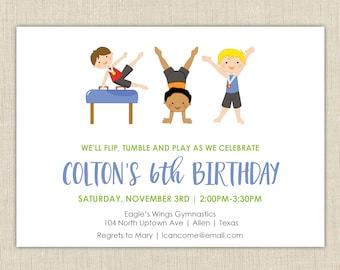 Boy Gymnastics Invitation, gymnastics birthday party, gymnastics invitation, gym party
