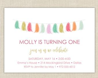 First Birthday Invitation. Girls First Birthday Invitation, Tassel Party
