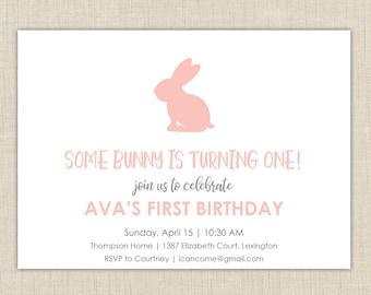 First Birthday Invitation. Bunny First Birthday invitation. Somebunny is turning one