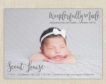 christian birth announcement. custom photo card. photo baby announcement. Wonderfully Made