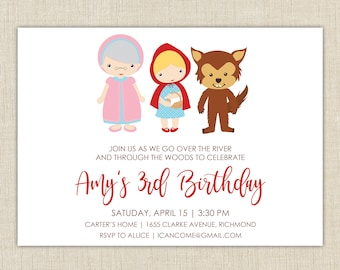 Little Red Riding Hood Birthday Invitation. Fairy Tale Birthday Party Invitations. Printable or Printed