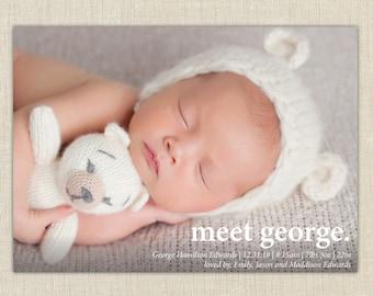 baby boy birth announcement, meet