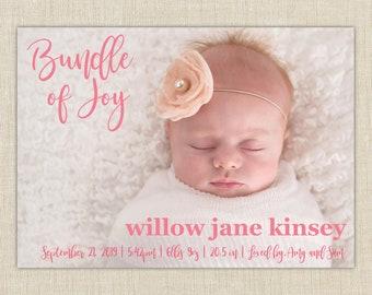 baby girl birth announcement. Bundle of Joy. Custom Birth Announcement