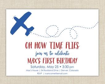 Airplane First Birthday Invitation, First Birthday Invitation, How Time Flies