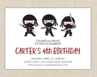 Ninja Birthday Invitation, Ninja Birthday Party, Ninja Birthday Party Invitations, Ninja Party Invitation