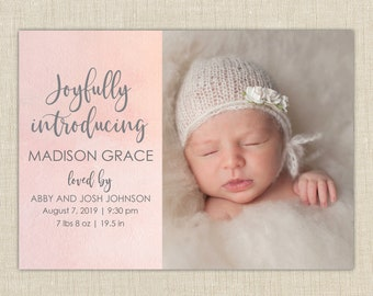 Birth Announcement. Hand lettering. Joyfully introducing watercolor announcement