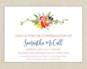 Baptism invitation Girl. Confirmation invitations. First Communion invitation