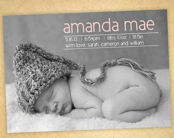 baby girl birth announcement-- modern