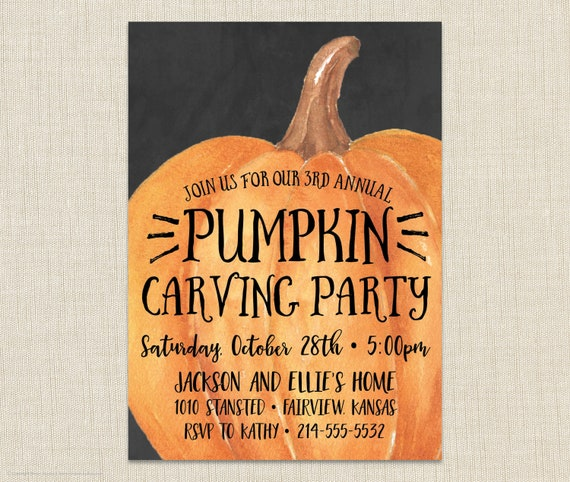 pumpkin carving party invitation halloween invitation etsy