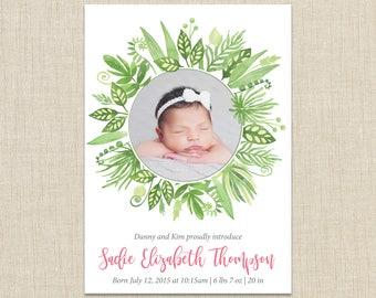 Girl birth announcement. custom photo card. Watercolor flowers