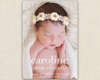 baby girl birth announcement. custom photo card