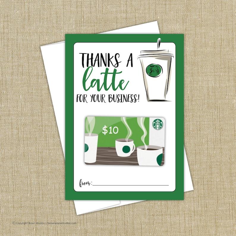 Starbucks Gift Card Holder Instant Download Thanks A Latte Etsy