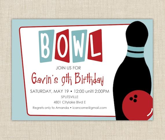 bowling birthday party invitation bowling birthday invitation etsy