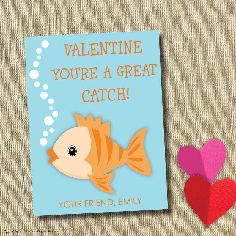 photograph relating to Goldfish Valentine Printable titled Goldfish Valentine, Printable Fishing Valentine, Noncandy Valentine, Tailored Printable Valentine, Preschool Valentine, immediate down load
