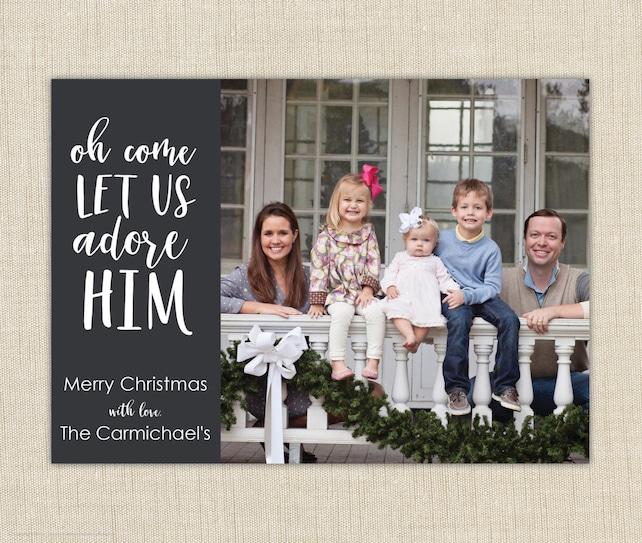 Religious Christmas Cards. Christian Photo Christmas Cards.  Oh come let us adore Him