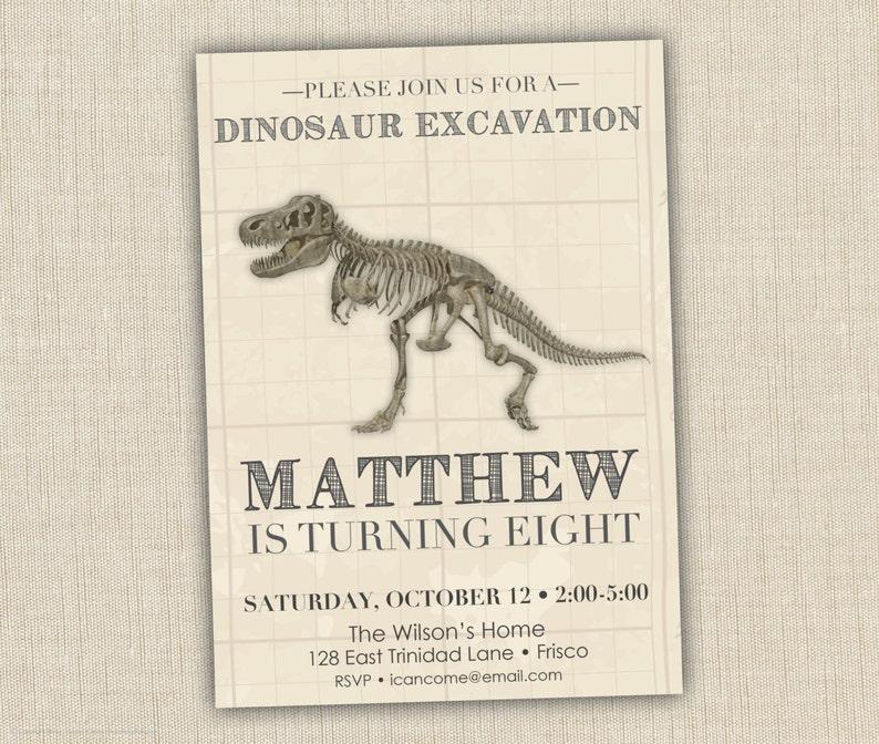 Dinosaur Fossil Birthday Invitation