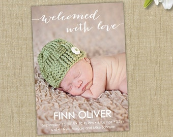 photo birth announcement. Welcomed with love