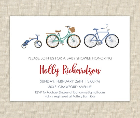 Bicycle baby shower invitation baby shower invitation baby etsy image 0 filmwisefo