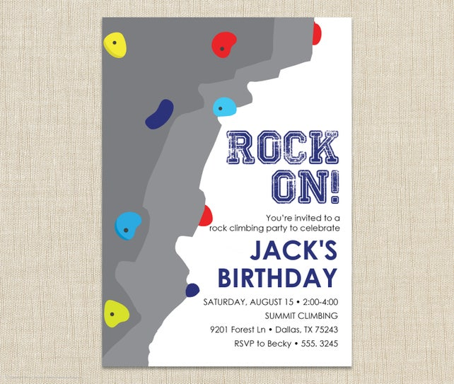 Rock climbing invitation rock climbing birthday invitation etsy image 0 filmwisefo