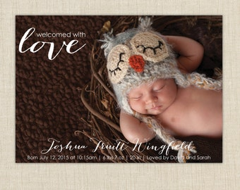 baby boy birth announcement. photo birth announcement. Welcomed with love