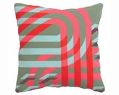 Modern Needlepoint Kit,  Geometric, needlepoint pillow kit, Green pink and blue