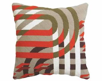 "Art Deco Needlepoint / Tapestry kit, ""Futura Red"", Modern Needlepoint Kits, Modern Tapestry Kits"