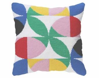 "Needlepoint Tapestry Kit ""Flores #2"", Mid-Century Needlepoint Kits, Modern Tapestry Kits"