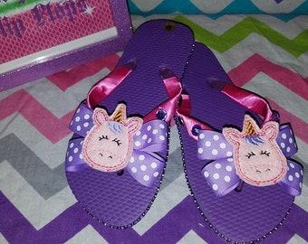 dc93166b3a73ea Unicorn Flip Flops Kids 11 12