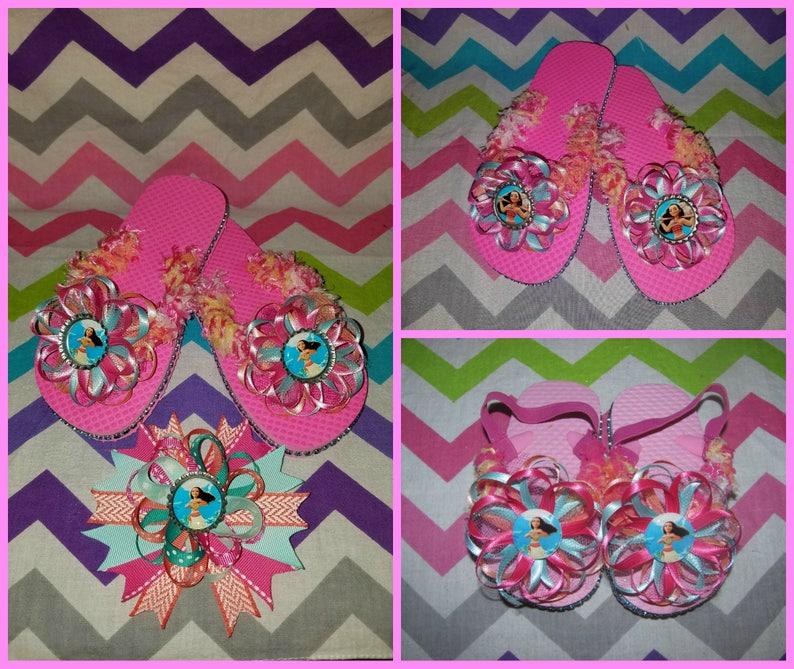 77ee960bd3f715 Disney Moana Flip Flops Toddler Kids and Adult sizes